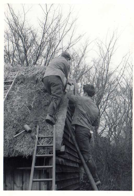 My dad and grandad. Spot the gravity-defying mallet!